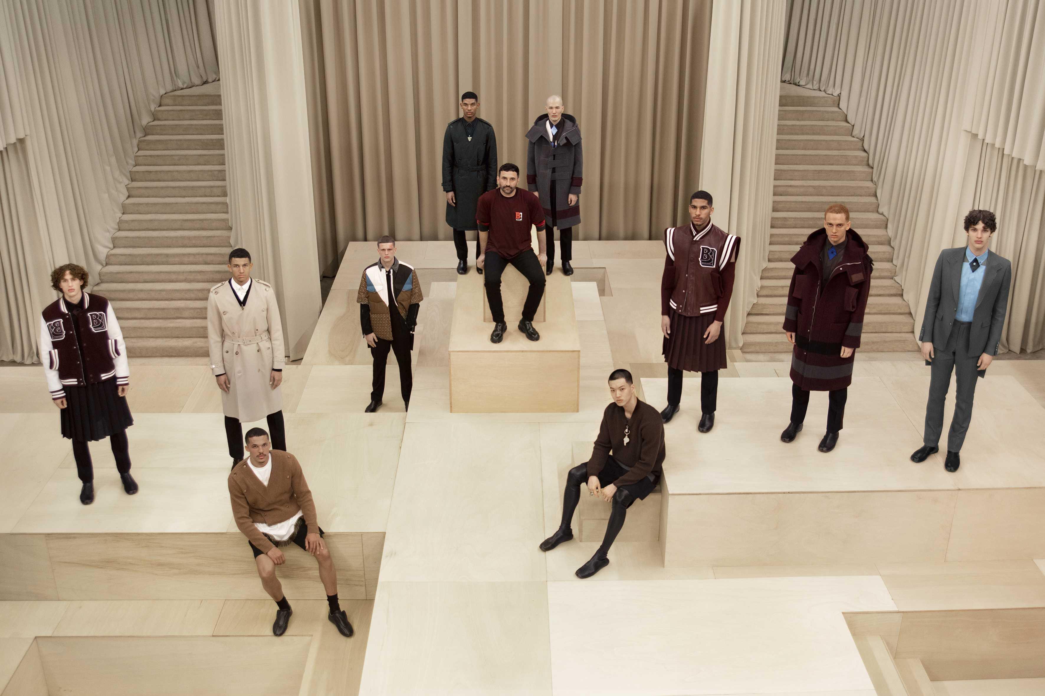 Riccardo Tisci and models at the Burberry Autumn_Winter 2021 Menswear Presentation.jpg